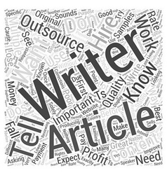 Article Outsourcing Dos and Donts Word Cloud vector image
