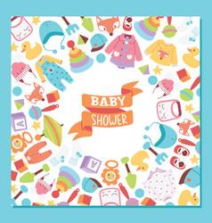 Baby shower cartoon kids toys duck games vector