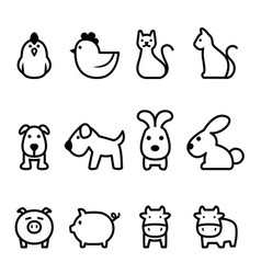 basic animal icon vector image