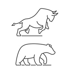 bear and bull icons set on white background vector image