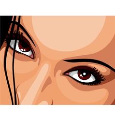 Beautiful brown eyes woman vector image