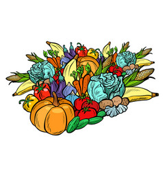 big autumn harvest vegetarian vegetables farm vector image