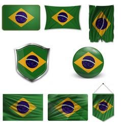 Brazil flag glossy button vector