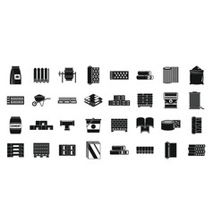 Building construction materials icons set simple vector