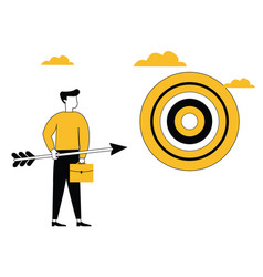 business man with arrow and target board vector image