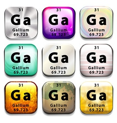 Buttons showing Gallium and its abbreviation vector image