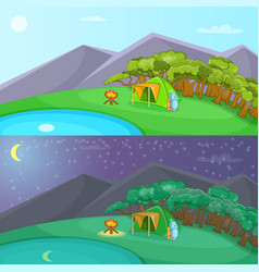 camping banner set horizontal cartoon style vector image