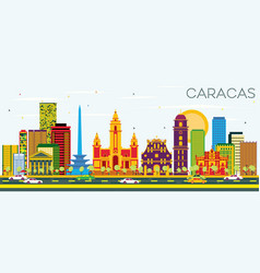Caracas skyline with color buildings and blue sky vector