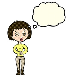 Cartoon tired woman with thought bubble vector