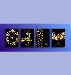 Christmas and new year gold star deer card set vector