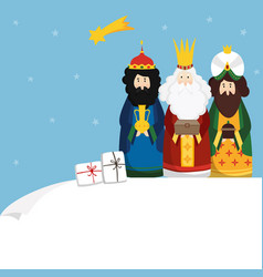 christmas greeting card invitation three magi vector image