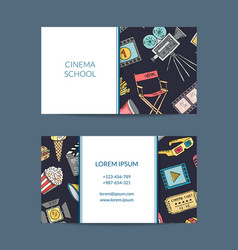 cinema doodle icons business card cinema vector image