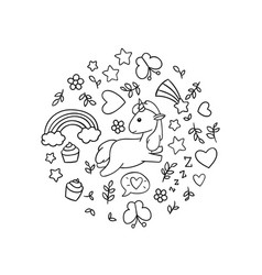 Kawaii Unicorns Coloring Pages Vector Images Over 130