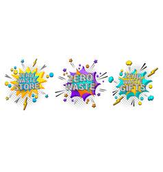 comic zero waste 3d banners set vector image
