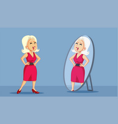 Confident woman looking proudly in the mirror vector