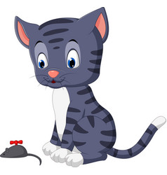Cute cat cartoon playing mouse vector