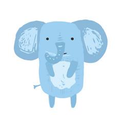 Cute childish blue elephant vector