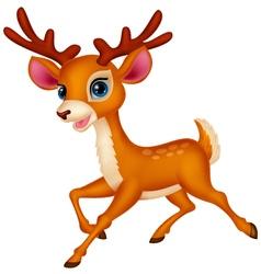Cute deer cartoon running vector image