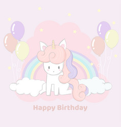 Cute hand drawn unicorn party happy birthday card vector