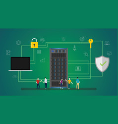 data security concept with people server and vector image