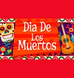 dia de los muertos mexican calavera skull ornament vector image