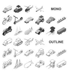 Different types of transport monochrom icons in vector