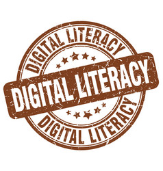 Digital literacy brown grunge stamp vector