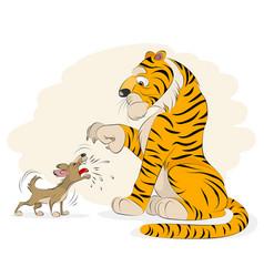 Dog barking at a tiger vector