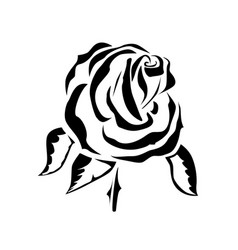 drawing of a rose tattoo logo vector image