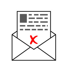 Envelope with a letter of bad sad news a letter vector