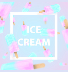 falling ice cream popsicles blue and pink pastel vector image