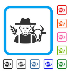 Farmer framed glad icon vector