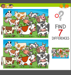 Find differences with cows farm animal characters vector