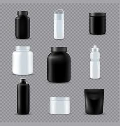 Fitness sport bottles realistic transparent vector