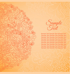 Floral card orange colored sample text vector