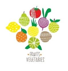Fresh print with natural food vector