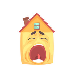 Funny sleepy house character yawning funny facial vector