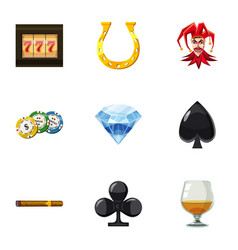Gambling icons set cartoon style vector