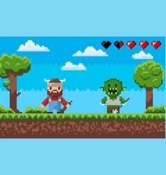 Game pixel characters fighting arcade in 8 bit vector