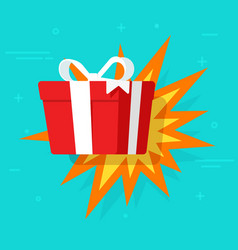 gift surprise happy wow present with boom vector image