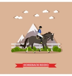 Girl horseback riding flat design vector