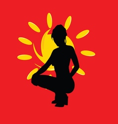 girl with sun silhouette on red vector image