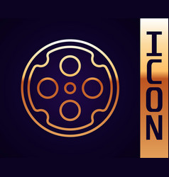 gold line revolver cylinder icon isolated on black vector image