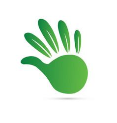 green environmental hand icon vector image