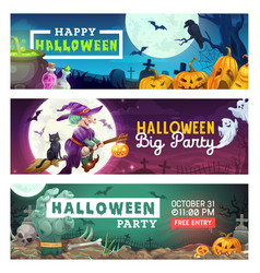 Halloween witch ghosts and pumpkins on cemetery vector
