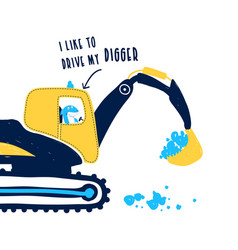 hand drawing digger and worker shark print design vector image