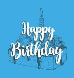 happy birthday cake with a candle vector image