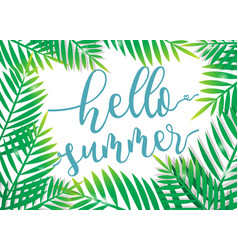 Hello summer with beach palm background vector