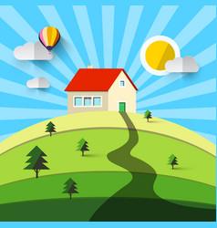 house on hill flat design natural landscape vector image