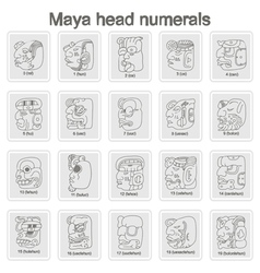 Icons with Maya head numerals glyphs vector